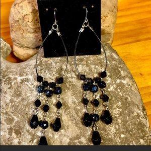 5/$25 Jet Black Beaded Dangle Woodstock Earrings